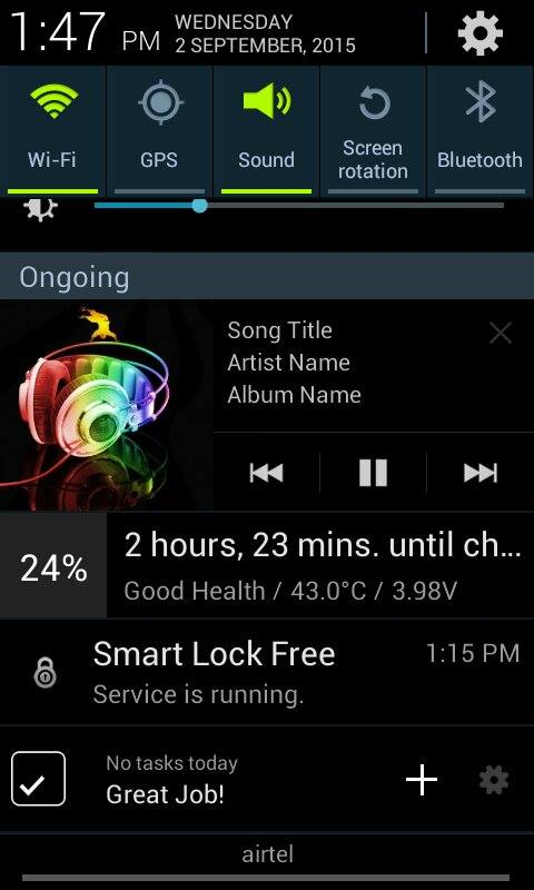 Android custom notification for music player Example